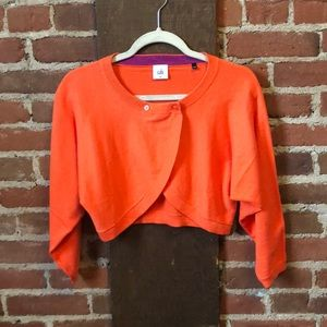 Cropped orange Cabi cardigan with buttons